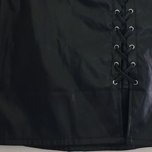 Faux Leather Lace Up Skirt by Haute Fox Med